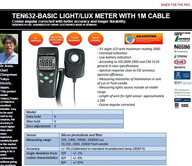 Ten632 economical lux meter with 1m cord connection cable malaysia screenshot2 ccuart Choice Image