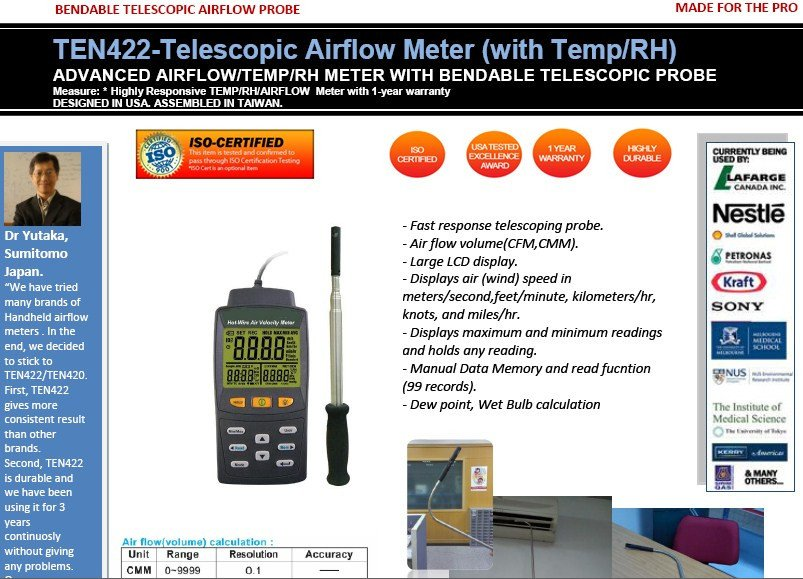 TEN422 ADVANCED AIRFLOW/TEMP/RH BENDABLE TELESCOPIC AIRFLOW